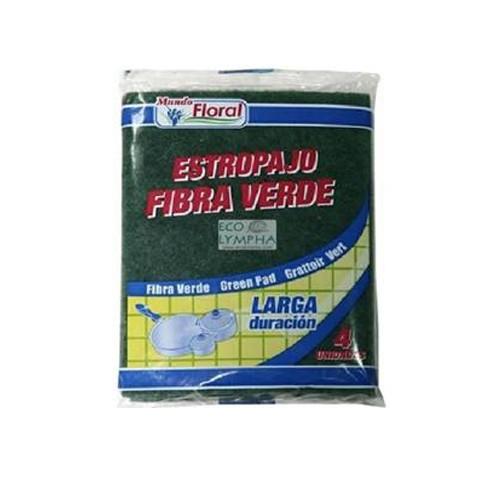 DIS1160 MUNDO FLORAL ESTROPAJO FIBRA VERDE 4 UND