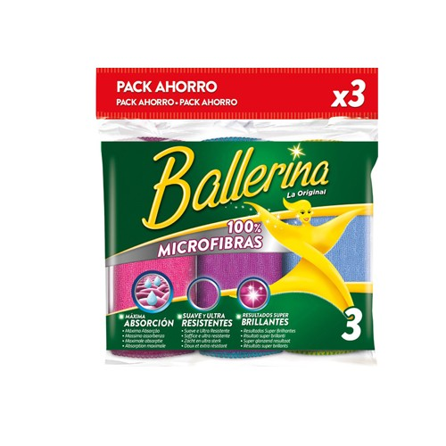 DIS2975 BALLERINA BAYETA PACK 3 MICROFIBRA